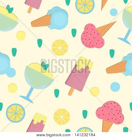 Ice cream seamless pattern in flat style. Background with eskimo ice cream cone and sorbet. Vector illustration for print textile and menus.
