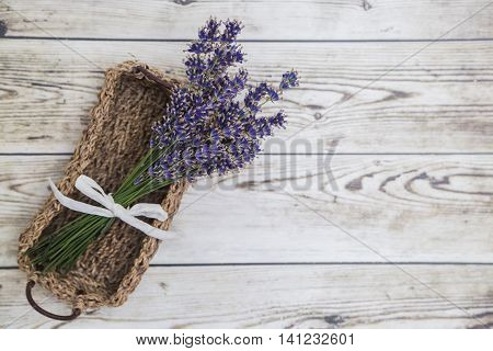 Bouquet of purple fresh fragrant lavender tied with white ribbon in wicker basket on wooden background