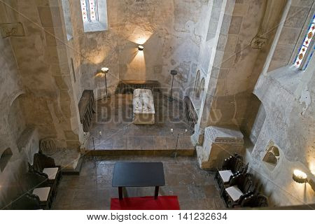 Inside the chapel of Corvin Castle in Hunedoara Romania. The castle is one of the famous Romanian landmarks located in Transylvania also related to Dracula names and vampires.