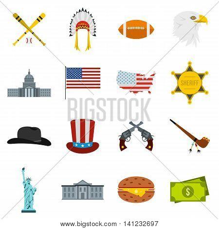 Flat USA icons set. Universal USA icons to use for web and mobile UI, set of basic USA elements isolated vector illustration