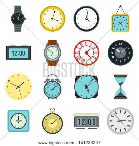 Flat clock icons set. Universal clock icons to use for web and mobile UI, set of basic clock elements isolated vector illustration