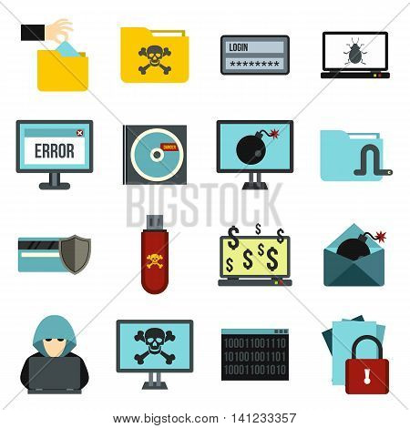 Flat criminal activity icons set. Universal criminal activity icons to use for web and mobile UI, set of basic criminal activity elements isolated vector illustration