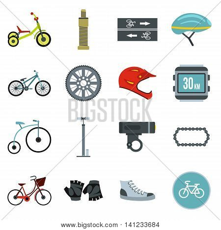 Flat biking icons set. Universal biking icons to use for web and mobile UI, set of basic biking elements isolated vector illustration