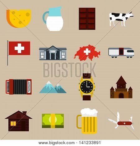 Flat Switzerland icons set. Universal Switzerland icons to use for web and mobile UI, set of basic Switzerland elements isolated vector illustration