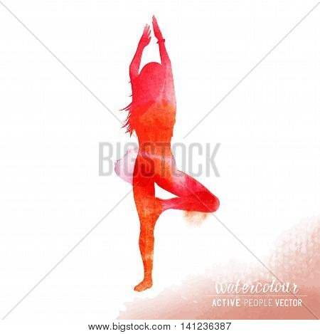 A young lady in a yoga position exercising - Watercolour vector illustration