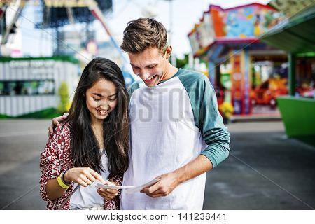 Amusement Park Funfair Festive Playful Happiness Concept