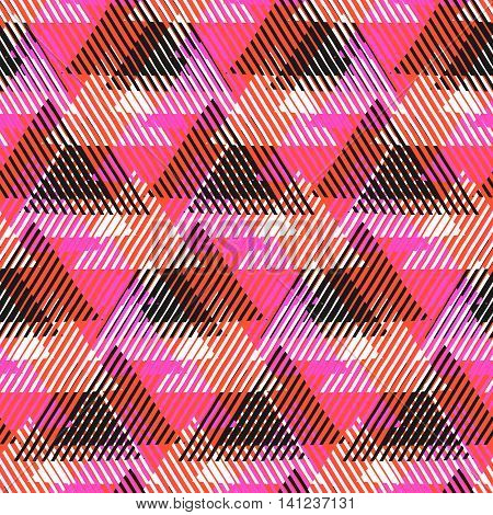 Vector geometric seamless pattern with lines, triangle, pyramids in black, white, pink, orange colors. Striped modern bold print in 1980 style for summer fall fashion. Abstract tech chevron background