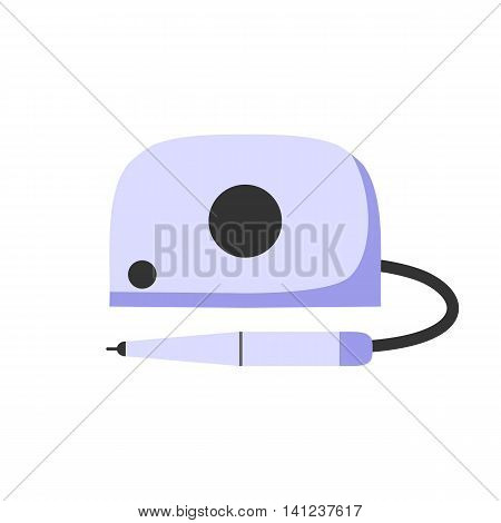 Professional electric manicure machine. The nail care. Flat icon isolated on a white background. Vector illustration.