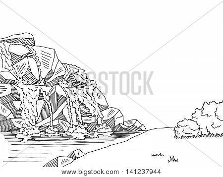 Source waterfall graphic art black white landscape sketch illustration vector