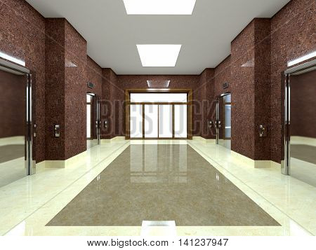 3D Rendering Of A Lobby With Lift In An Office Building