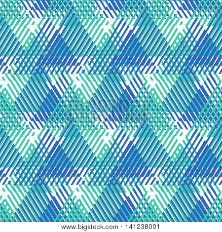Vector seamless geometric pattern with striped triangles, abstract dynamic shapes in bright blue colors. Hand drawn background with overlapping lines in 1980s fashion style. Modern textile print