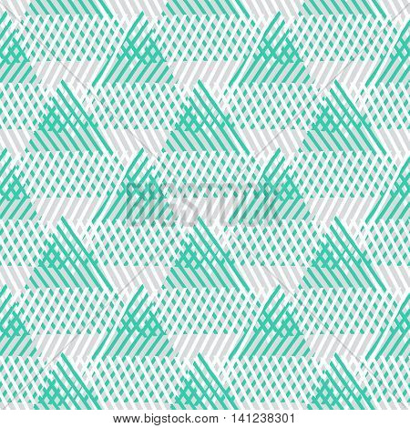 Vector seamless geometric pattern with striped triangles, abstract dynamic shapes in pastel colors. Hand drawn background with overlapping lines in 1980s fashion style. Modern textile print in green