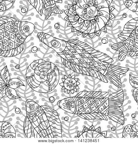 Decorative contour seamless pattern with marine life and contour drawing seaweeds . Textile and paper sea background. Vector illustration