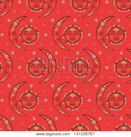 Vector seamless celestial pattern with moons, suns, faces, dots in tribal style and ethnic motif in bright red color. Boho chic print hand drawn with small geometry details and elements Textile design