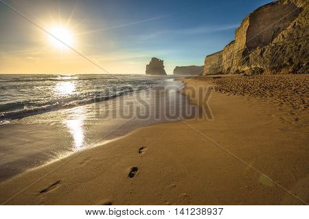 Gibson Steps beach at sunset in Port Campbell National Park on the Great Ocean Road, Victoria state, Australia.