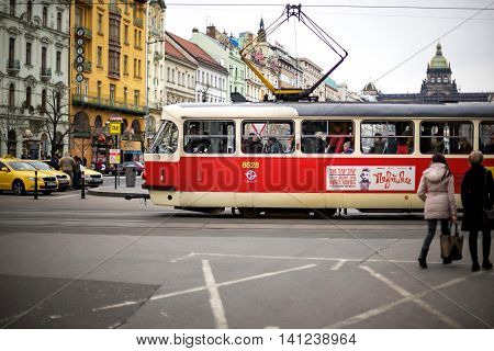 PRAGUE CZECH REPUBLIC - MARCH 5 2016: The vintage excursion tram parade goes on old town in Prague. on March 5 2016