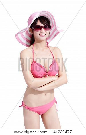 beauty woman wear bikini happily and cross arm with isolated white background asian