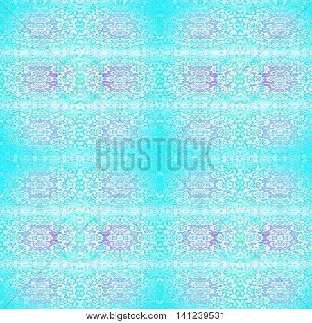 Abstract geometric background, blurred. Regular floral ornaments in purple and pink shades on turquoise blue, ornate and dreamy.