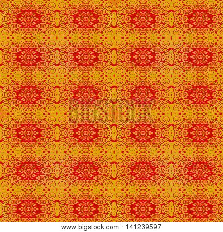 Abstract geometric vintage background. Ornate regular ellipses pattern red on gold.
