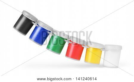 Gouache color paints jars or cans isolated on white background