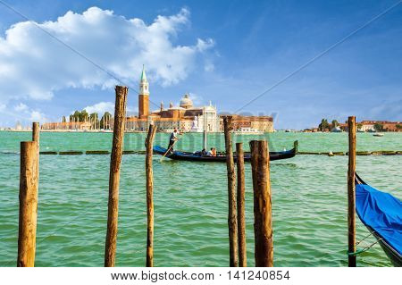 Saint Giorgio Maggiore Church, view from San Marco embankment. The church with a tower on the island. Venice, Italy.