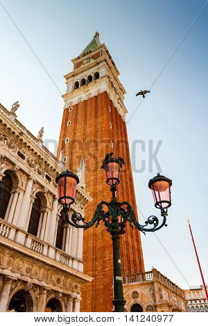 San Marco square with Campanile. The main square of the old town. Venice, Italy.