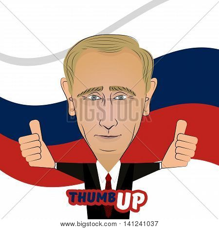 August Ukraine 2016. Character portrait positive caricature Vladimir Vladimirovich Putin thumb up on background of Russian flag. Positive caricature of a prominent politician best President.