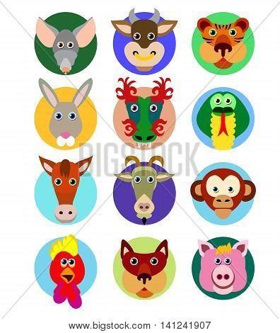 Chinese zodiac animal icons. Decorative vector illustration.