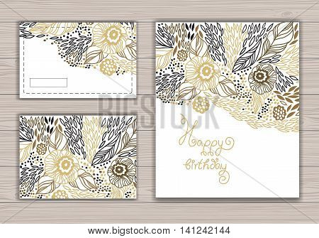Greeting card set with abstract background with contour drawing of flowers. Vector illustration. Place for text. Easy to edit.