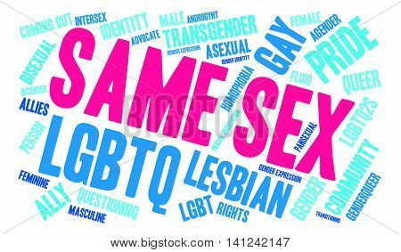 Same Sex word cloud on a white background.