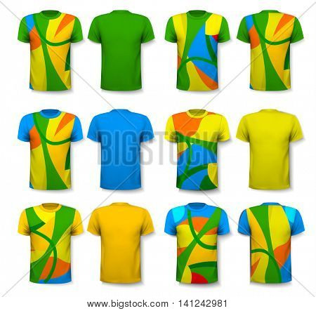 Colorful abstract male t-shirts. Design template. Vector.