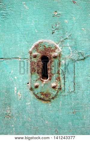 Closeup of old wood backgrounds with keyhole