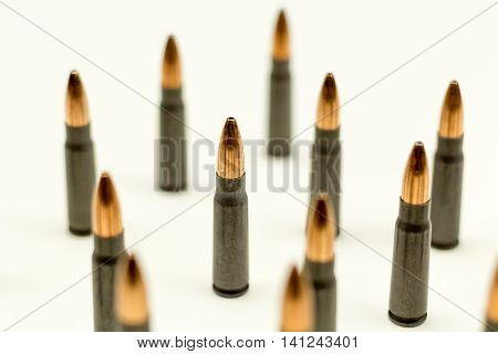Ak-47 Rifle Cartridge Hollow Point Bullet 7.62x39mm Top View Abstract Single focal Point