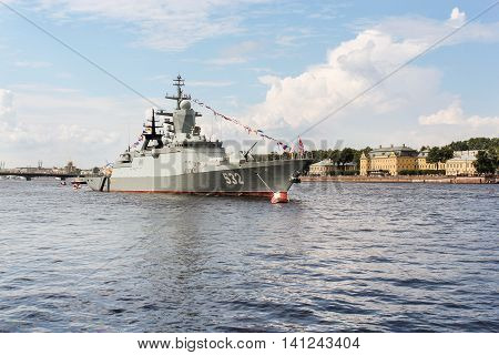 St. Petersburg, Russia - 31 July, Warship in the background of the University quay, 31 July, 2016. Festive parade of warships on the Neva River in St. Petersburg.