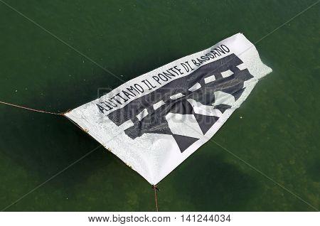 Bassano Del Grappa, Vi, Italy. 22 May 2016. Banner To Raise Fund