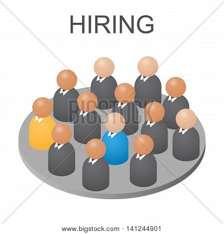 Concept we are hiring you. Isometric abstract group of people. Businessmen and workers jobs. Assistance for unemployed. Isolated on white background. Vector illustration.