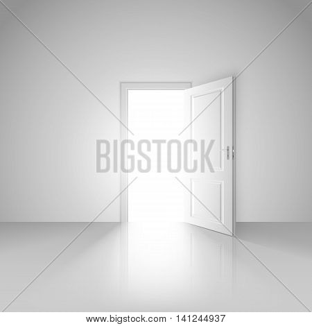 Clear white room with opened door to the beautiful new mystic world background image design vector stock eps 10 illustration