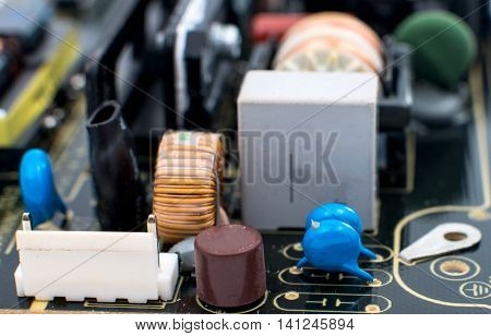 electronic circuit board industrial technology macro close-up