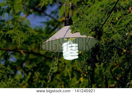 lamp post with lights on during daytime