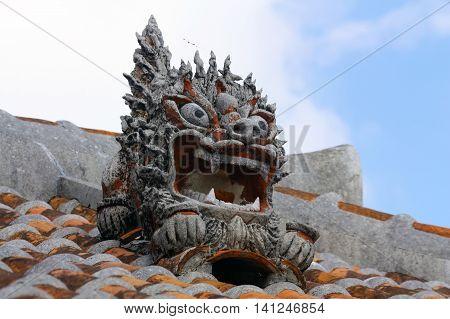 Stucco on rooftop design with traditional Ryukyu lion from Okinawa Japan.