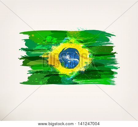 Brazilian flag. Watercolor hand drawn national flag. Watercolor background, ink stains, colors in Brazil concept in Brazil flag concept.