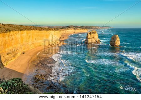 Panorama of Gibson Steps by the Twelve Apostles in Port Campbell National Park on the Great Ocean Road, Victoria state, Australia.