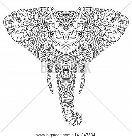 Elephant head. Adult antistress coloring page. Black white hand drawn doodle animal. Ethnic patterned vector. African indian totem tribal zentangle design. Sketch for tattoo poster print t-shirt