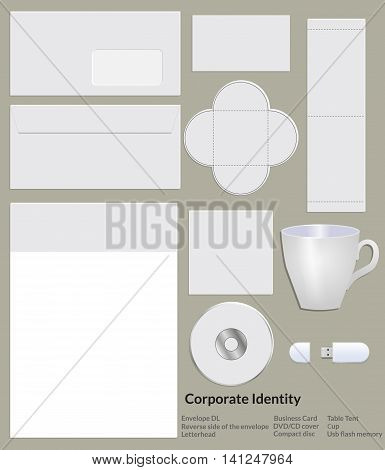 Blank template corporate identity. Includes several elements: an envelope reverse side of the envelope letterhead business card cover disc cd cup plate on the table flash drive. Vector illustration.