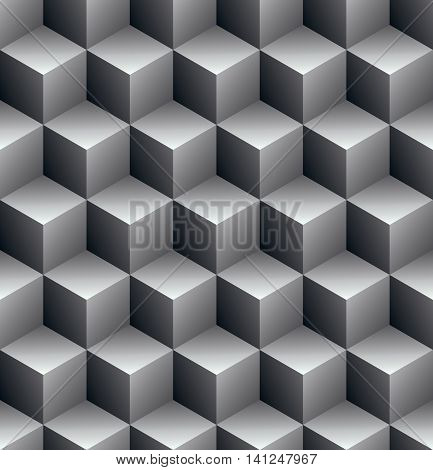 Continuous black and white pattern illusive motif abstract background with 3d geometric figures.