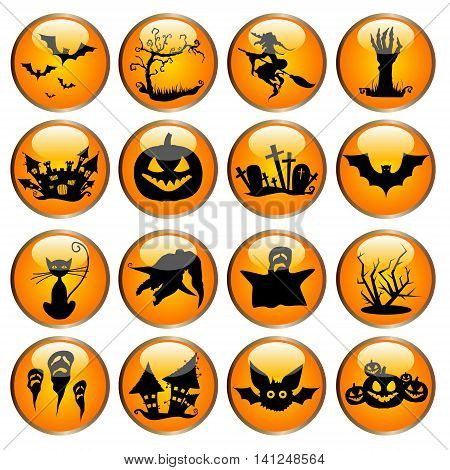 Glossy Halloween icons or buttons on orange badges.