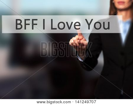 Bff I Love You -  Young Girl Working With Virtual Screen And Touching Button.