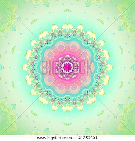Geometric seamless background. Concentric circle ornament, abstract blossom in pink, violet, orange, light blue and yellow shades on light green, delicate and dreamy.