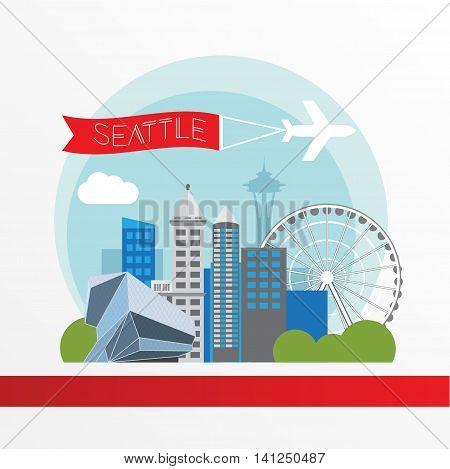 Seattle detailed silhouette. Trendy vector illustration, flat style. Stylish colorful landmarks. Space Needle the symbol of USA, Washington state