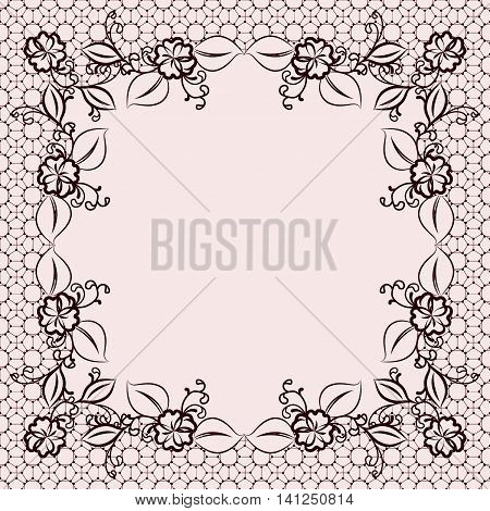 Feminine floral frame. For template of greeting cards and wedding invitations. Vector illustration.